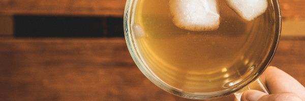 Fresh brewed iced tea in a mug.