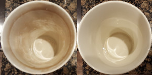 The same mug before and after cleaning.
